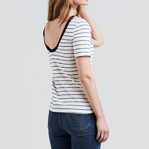 Levi's Back Scoop Tee Moonlight Striped SM white